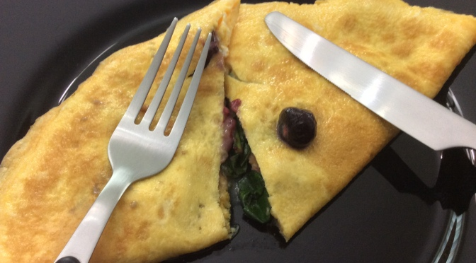 OMELETTE of Wilted Kale, Onions and Mixed Berries