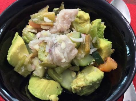 Primed Kinilaw with extra vegetables over avocado chunks