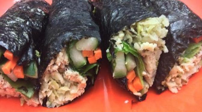 Primed Sushi of Cauliflower Rice, Spinach, Cucumber, Carrots and Pink Salmon
