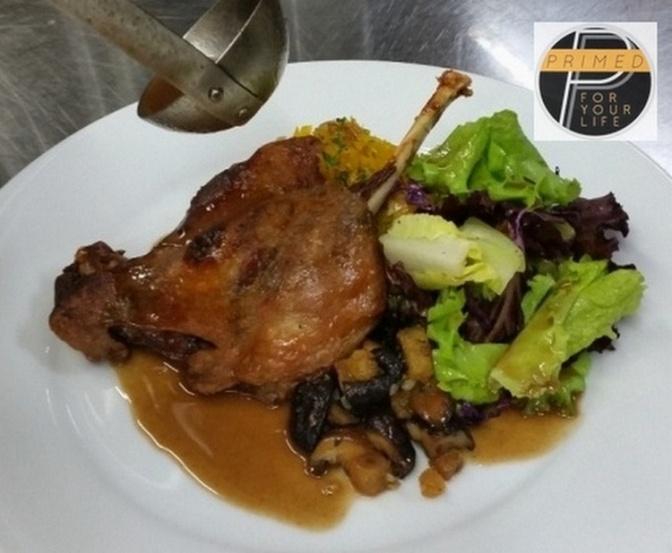 Duck Leg Confit, Squash rice, Mushrooms a la Bordelaise