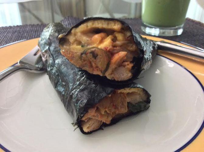 Primed Korean Kimbap with Mackerel, Kimchi and Omelette
