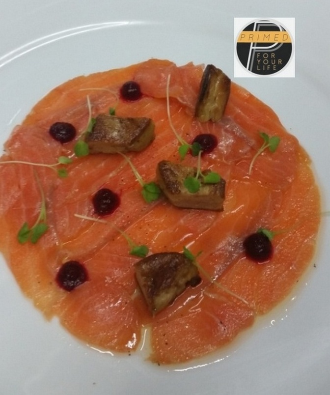 Smoked salmon, Pan-fried Duck Liver, Beetroot compote