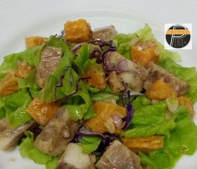 Primed Salad of Sweet Potatoes and Pork Head Pate with Shallots and Mustard Vinaigrette