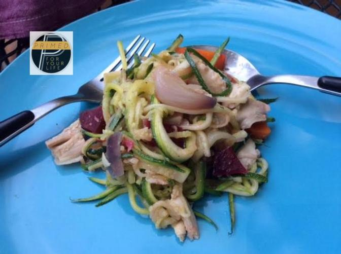 Zudles with Roast Chicken and Vegetables