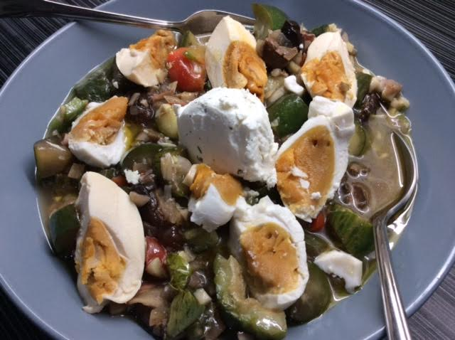 Primed Kinilaw with Salted Duck Eggs and Goat's Cheese Salad
