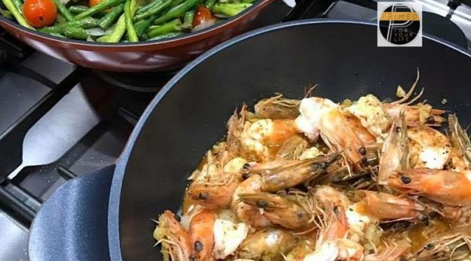Primed Cookie's Sauteed Shrimp and Vegetable Medley of Sitao & Cherry Tomatoes