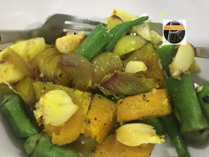 Recipe of Turmeric and VCO Roasted Squash and Red Onions with Roasted Garlic and Steamed Okra