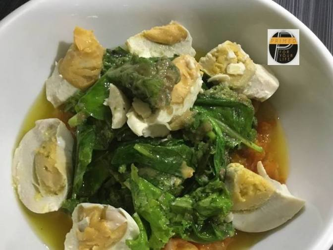 Primed Recipe of Leafy Greens, Home-made Tomato Sauce, Salted Duck Eggs and Organic VCO Bagna Caude Sauce