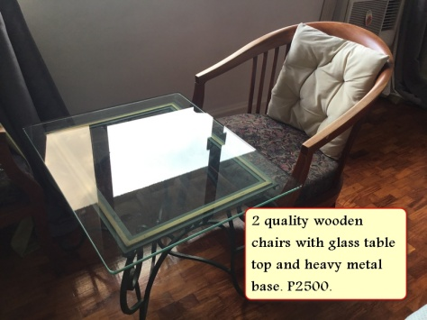 Sale glass table with metal stand and 2 quality chairs - Copy